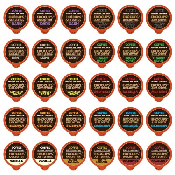 EKOCUPS Premium Coffee Single Serve CupsK cups Variety Pack Sampler30-count