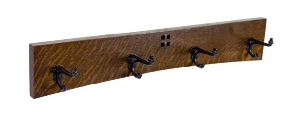 Arts and Crafts / Mission 24 Inch 4 Cast Iron Hook Coat Rack
