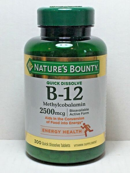 Nature#x27;s Bounty Sublingual Vitamin B 12 2500mcg 300 Tablets Cherry Flavor