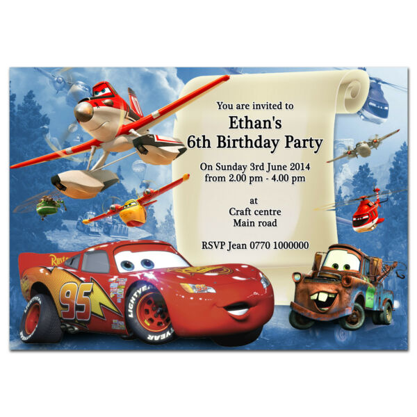 i52; Cars and Planes; Personalised invitations; Any age name or text; special