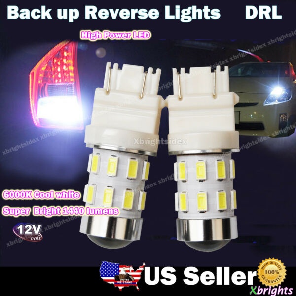 2 pcs 3156 3157 High Power LED Reverse Back Up Light Bulb Projector Lens White