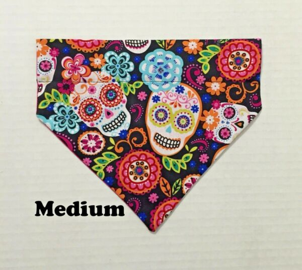 Day of the Dead Sugar Flower Skulls Over Collar Slide On Pet Dog Bandana Scarf $5.50