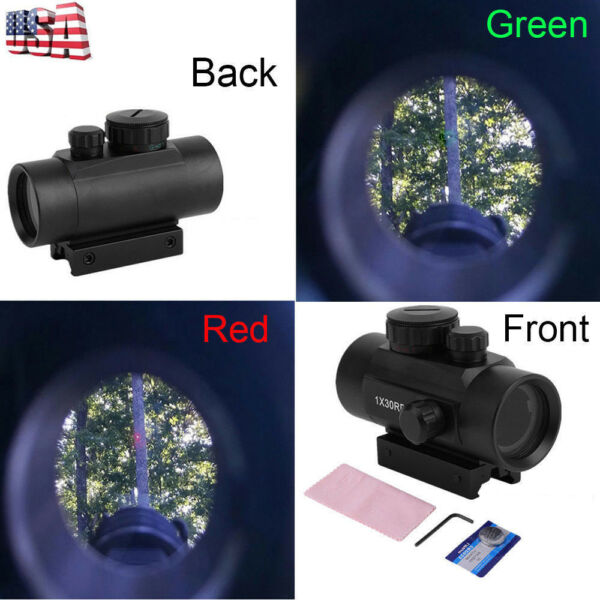 Red Green Dot Sight Scope Tactical Reflex Laser 30mm for Rifle Picatinny Rail