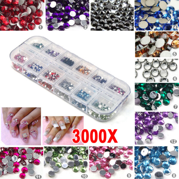 3000pcs Nail Art Rhinestones Decoration DIY for UV Gel Acrylic Systems 2mm USA