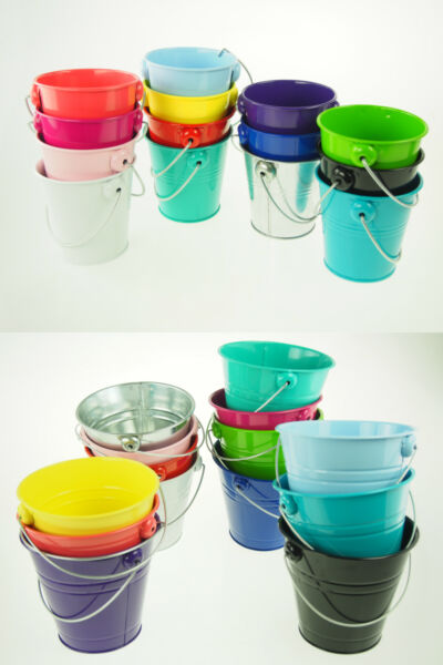 Large XL Metal SandWater Paint Pails Buckets PartyFavor Gifts Wedding Baby BULK