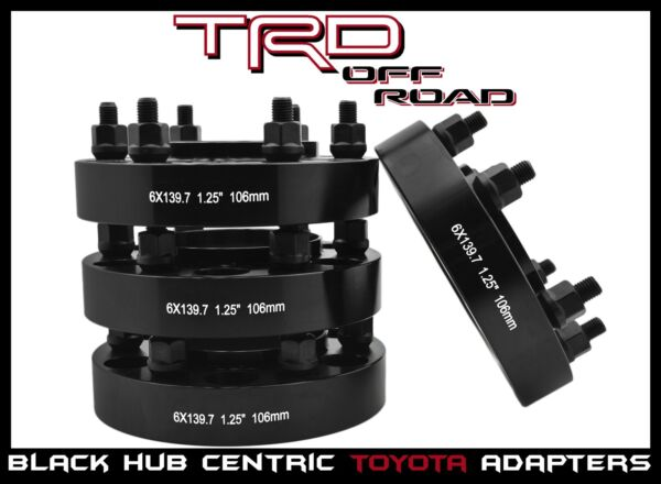 4 Toyota 1.25quot; Black Hub Centric Wheel Spacers 6x5.5 6x139.7 MM Tacoma 4Runner