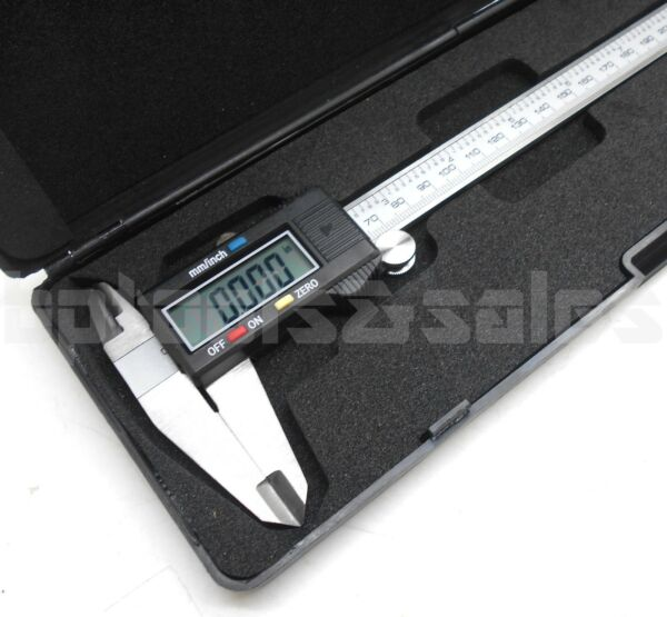 8quot; Digital Electronic Caliper Precision Stainless Inch Metric LCD Dial w Case