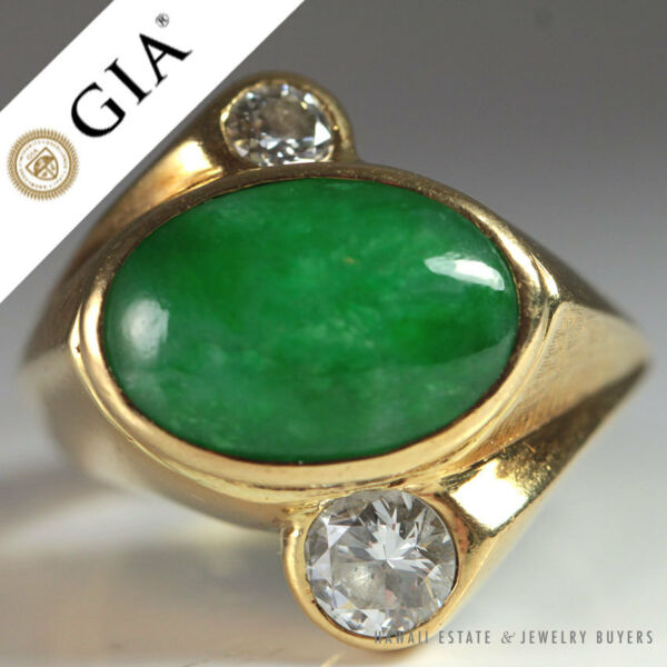 VINTAGE 18K GOLD DIAMOND & APPLE GREEN NATURAL JADE RING GIA JADE (SZ 7)