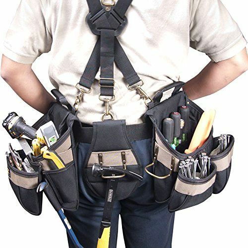 Construction Tool Belt Pouch Suspenders Carpenter Vest Electrician Rig Padded