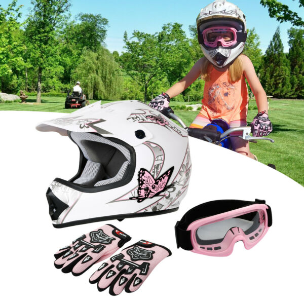 Youth Pink Butterfly Dirt Bike ATV MX Helmet Motocross+Goggles+Gloves S/M/L/XL