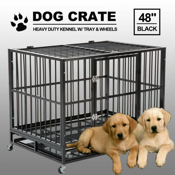 "48"" Black Heavy Duty Dog Crate Cage Pet Kennel Playpen Exercise w Metal Tray US"