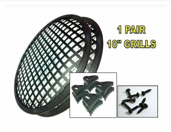 Speaker Grill 10quot; 1 Pair Waffle Metal Car DJ Audio Woofer With Screws Clips