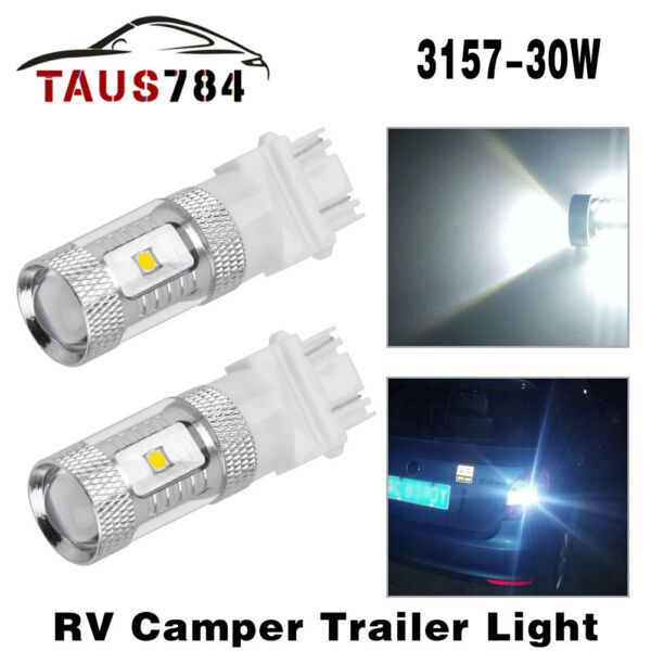 2x White 3157 3156 High Power 30W LED Tail Brake Stop Backup Reverse Light Bulbs