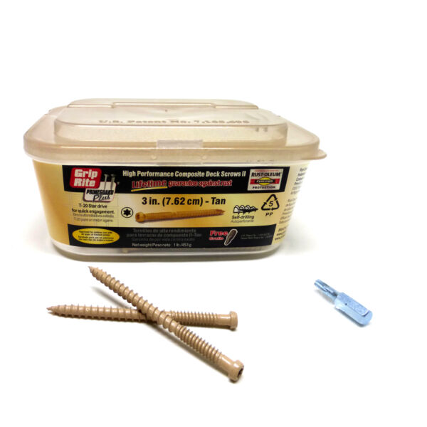 Grip Rite #3x9 High Performance Composite Deck Screws 2 T20 Star Drive Tan $12.99