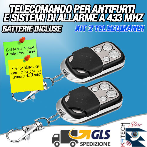 KIT 2 TELECOMANDO SUPPLEMENTARE WIRELESS UNIVERSALE PER ANTIFURTO ALLARME CASA