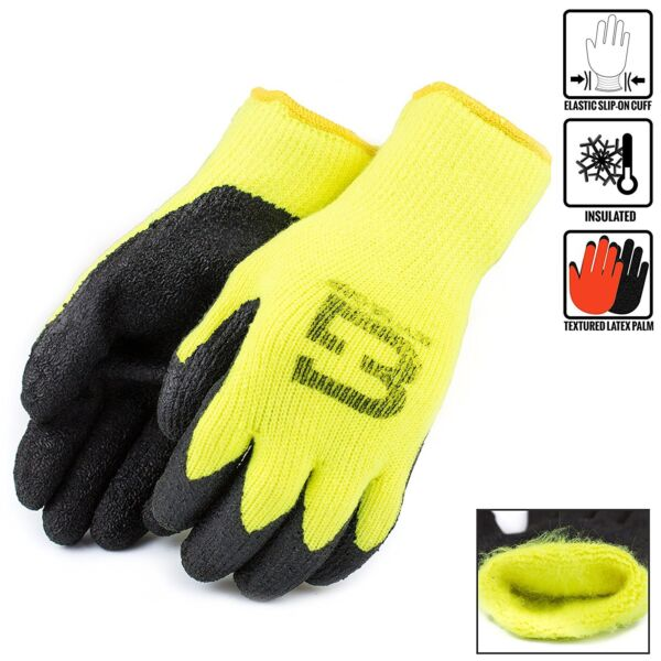 Hi-Vis Lime Insulated Winter Rubber-Coated Gloves, Crinkle Finished -BGWLAC-LM