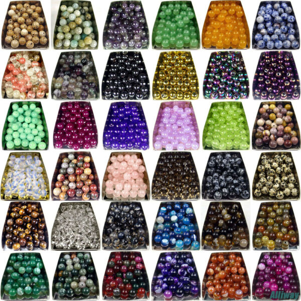 Series I lot natural gemstone spacer loose beads 4mm 6mm 8mm 10mm 12mm stone DIY $1.59