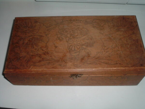 Antique Art Nouveau 1900s Pyrography Wood Jewelry Glove Letter Box BEAUTIFUL