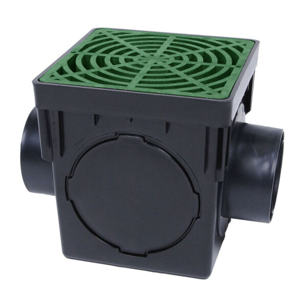 Storm Drain FSD 090 K 9quot; Square Catch Basin Kit Drain Box with Green Grate