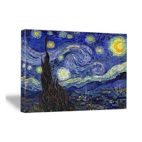 Canvas Wall Art Print Starry Night Van Gogh Painting Repro Blue Picture Framed $10.71