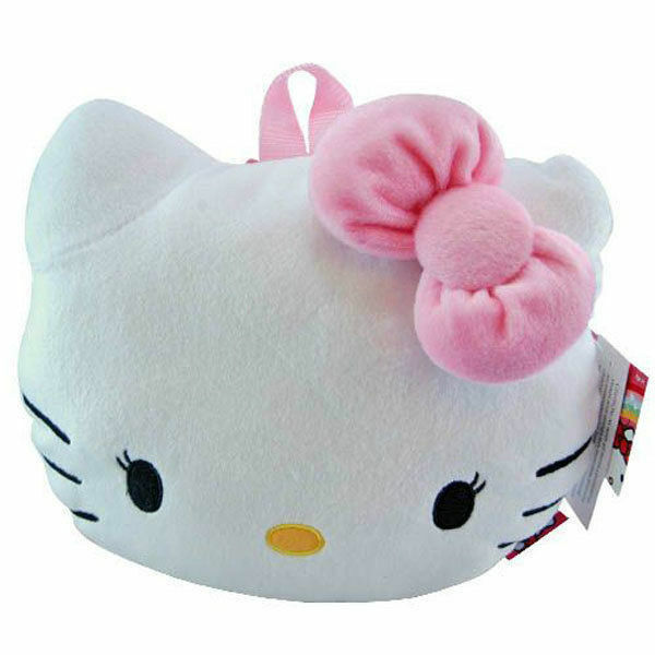 Backpack 12quot; Sanrio Hello Kitty Face Plush With Pink Bow Eyelashes NWT