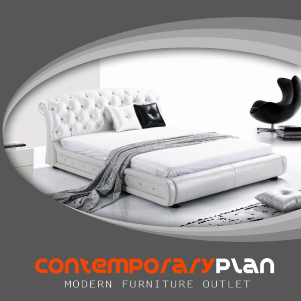 Curved Montecito Leather Bed with Tufted Modern Design White Leather Headboard $1399.00