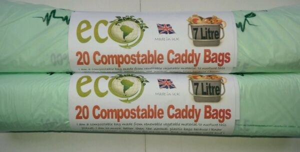 Food Waste 7 Ltr Kitchen Caddy Bags Compostable Biodegradable bags x 20 GBP 3.37