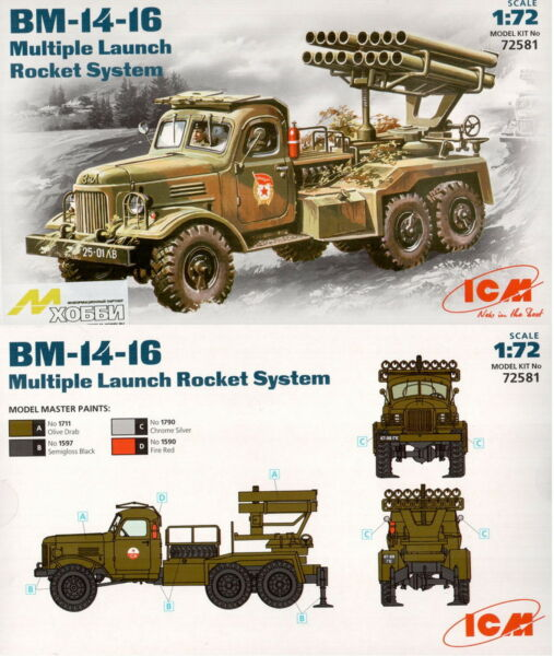 ICM 72581 BM-14-16 Soviet Army rocket volley system 1/72 hobby kit