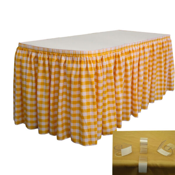 LA Linen Checkered Table Skirt 17-Ft L by 29