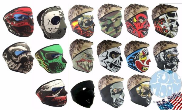New Full Face Mask Skull Black Reversible Neoprene Halloween Snow Ski Motorcycle
