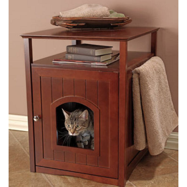 DESIGNER Pet LITTER BOX COVER Night STAND End Table Cat HOUSE Dog Crate WALNUT
