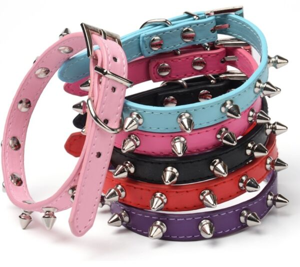 Studded Small Spiked Rivet Dog Pet Leather Collar Pink Red Black Purple Small XS $9.49