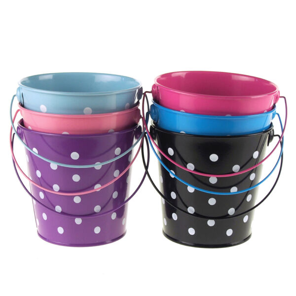 Polka Dot Metal Pail Buckets Party Favor 5-Inch
