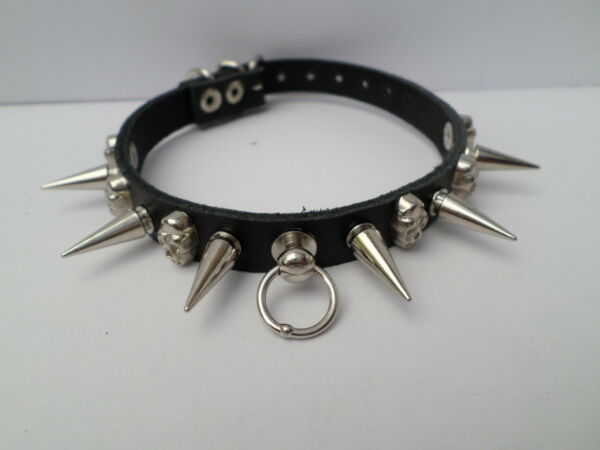 small leather spiked with skull collar jack russell toy breed 20mm spikes GBP 11.99