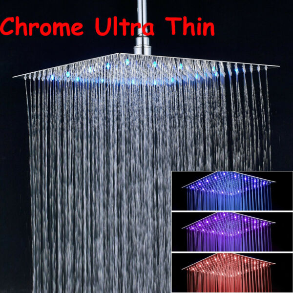HotelSpa 16-inch Stainless Steel Square Rainfall Shower Head LED Color Changing