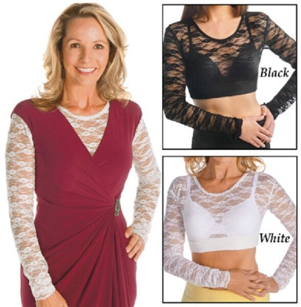 Lace Camisole Long Sleeve Under Tank Top Black or White M L XL XXL FREE SHIPP $14.36