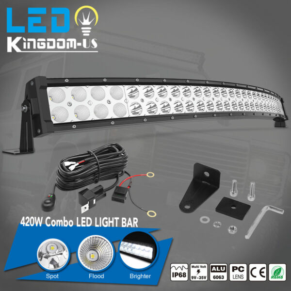 32inch 420W Curved LED Light Bar ComboFree Wiring Kit Offroad Truck 4WD ATV SUV