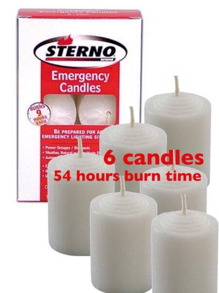 Sterno Emergency Candles 6 PK Bug Out Survival Camping Hiking Hunting Prepared