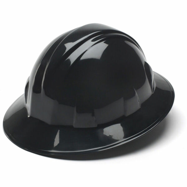 Pyramex Hard Hat Black FULL BRIM With 4 Point Ratchet Suspension, HP24111