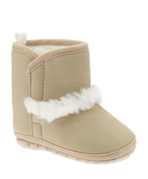 Old Navy Gray Cozy Boots for Baby Girl Rolled Oats Size 6-12mon