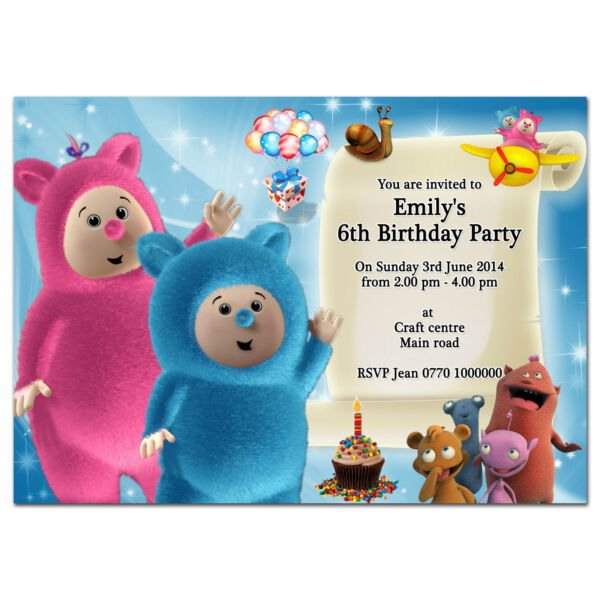 i068; Baby tv Billy Bam Bam & Cuddlies; Personalised invitations; Any age name