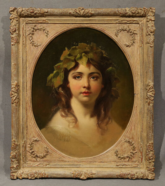 Oil Painting Style of Bouguereau Beautiful Young Girl with Leaf Crown