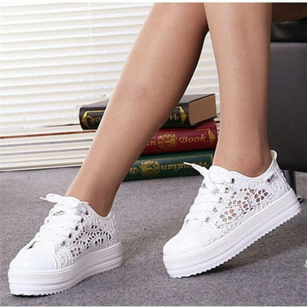 Women Breathable Comfort Canvas Shoes Sneakers Floral Hollow Platform Sneakers