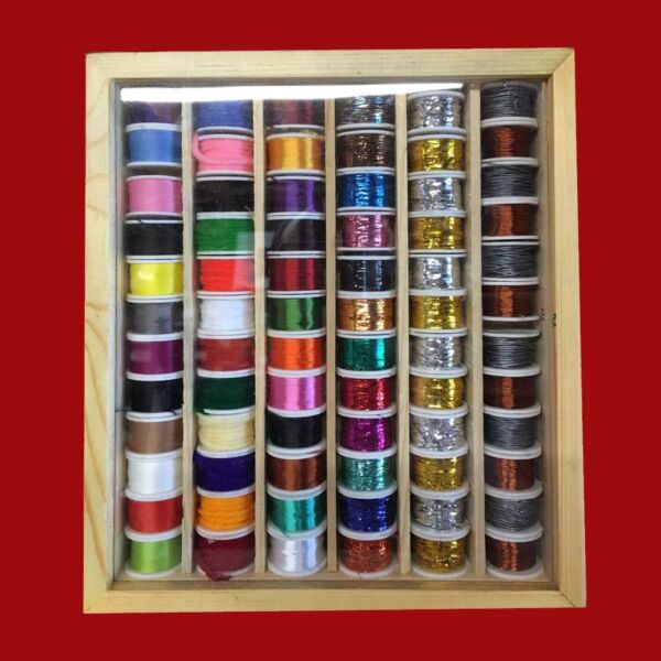72 Fly Tying Spools of Floss Thread Tinsel Wire Wool in a Wooden Box