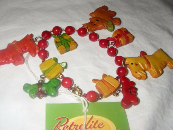 DEPT 56 RETROLITE BRACELET RED W FANCY DOGS amp; TRIMMINGS 7 INCHES LONG NEW $9.99