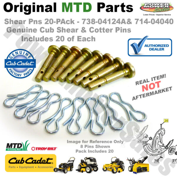 Shear Pinsamp;Cotters 20Pk Cub Cadet MTD Craftsman SnowBlowers 738 04124A 714 04040