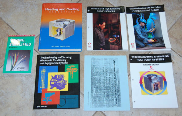 HVAC Books Heating & Cooling Gas Furnaces Electrical Heat Pump Wiring Lot of 7