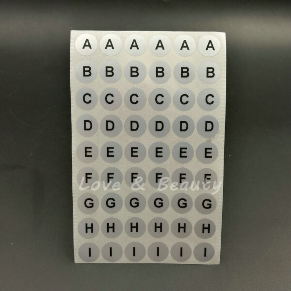 1560 Alphabet A To Z Label Stickers Black Letters Silver Round Waterproof 1CM $7.00