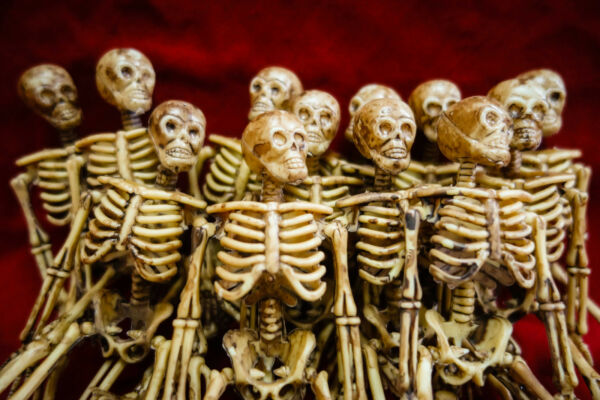 12 Lot Miniature Dollhouse Plastic Skeletons 6quot; inch Small Halloween Decoration $34.99