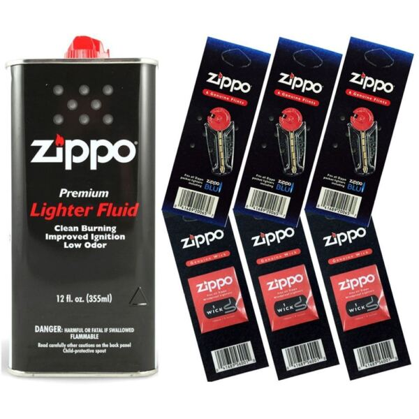Zippo Lighter Fluid Fuel 12oz amp; 6 Value Pack 18 Flints 3 Wick Gift Set Combo